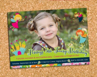 Fairy Fairies Birthday Party Photo Invitation, Girls Fairy Princess Invite, Fairy Garden Party, Whimsical - DiY Printable || Fairy Dust
