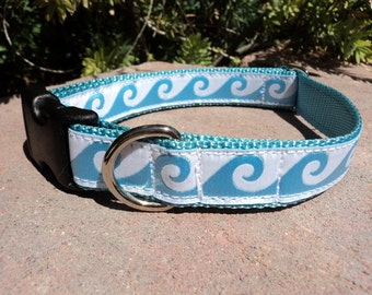 "Small Blue Wave Dog Collar 3/4"" wide Side Release adjustable - no martingale, limited ribbon"