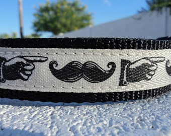 "Sale Dog Collar Vintage Mustache Sign 1"" adjustable side release - no Martingale very limited ribbon"