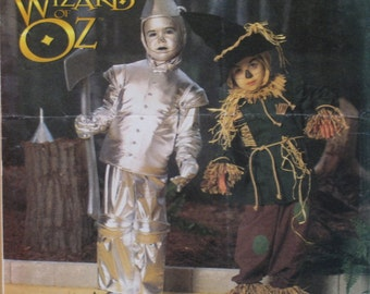 "Wizard of Oz Pattern, Tinman and Scarecrow, Childs Halloween Costume, Simplicity No. 7814 UNCUT Size 3 4 5 6 7 8(Chest 22-28"" 56-58cm)"