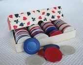 107 piece Vintage Stackwell Harvite Poker Chips Red White and Blue Boxed Heavy Plastic Poker Chips