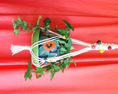 White Macrame Plant Hanger White Cotton Cord with a Rainbow of Multi Colored Beads 33 inch total length