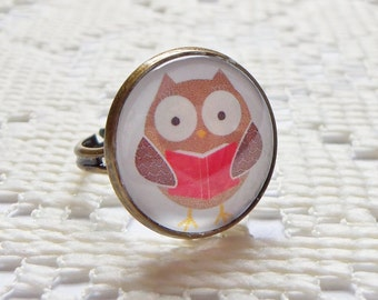Bookworm Owl Ring, Owl Jewelry, Bird Jewelry, Bird Ring, Adjustable Ring
