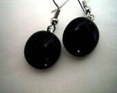 BLACK FUSED GLASS Dangle Earrings