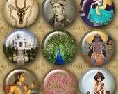 INDIA IMAGES 1 inch Circles - Digital Printable vintage art & photos for making Jewelry Magnets Crafts...Taj Mahal Hindu Tiger Peacock