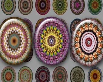 30x40 mm KALEIDOSCOPE FLOWERS Digital Printable Ovals collage sheet for Pendants Magnets Crafts Bezel Cabs...mandala flower bouquet OOAK
