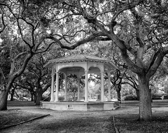 Gazebo at Battery Park / White Point Gardens - Charleston South Carolina - Fine Art Photograph - Oak Trees 5x7 8x10 11x14 16x20 24x30