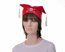 Pirate Jester Hat Red with Skull and Crossbones Mens Hat Womens Hat