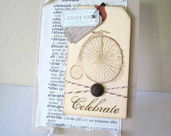 Antique Bicycle Celebrate Handmade Card