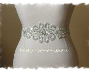 Silver Beaded Bridal Belt, Rhinestone Wedding Dress Sash, Crystal Wedding Belt, Wide Jeweled Vintage Style Bridal Sash, No. 3050S4050-1.5