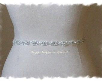 Bridal Sash, Crystal Wedding Dress Belt, Beaded Wedding Sash, Skinny Jeweled Belt, Rhinestone Sash, Belt, Bridesmaid Sash, No. 4070S-18