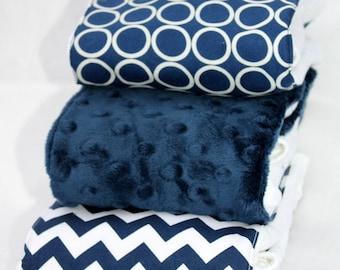 Navy Blue Burp Rag 3-pack Cloth Diaper Set
