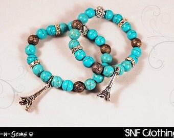 Bonjour Paris - Turquoise Stretch Bracelet