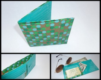 Duct Tape Wallet (Blue and Green Polka Dot)