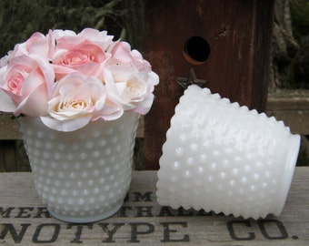 Pair of White Milk Glass Hobnail Planters with Dainty Tiny Scallops - Wedding Centerpiece - Oak Hill Vintage
