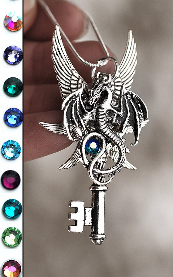 Six Winged Dragon Key Necklace by KeypersCove on Etsy