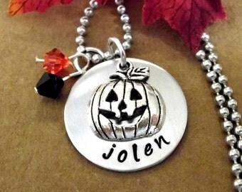 Halloween Necklace, Halloween Jewelry, Pumpkin Necklace Set, Personalized Halloween Jewelry, Hand Stamped Halloween