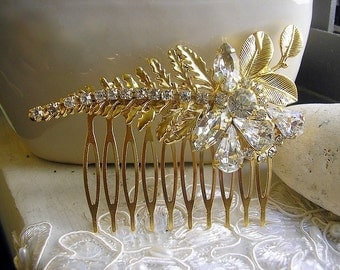 wedding hair comb, Crystal Hair Comb, Gold Leaves hair comb,head pieces accessories,bridal hair comb hair jewelry