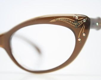 Rhinestone Cat Eye Glasses Cateye Eyeglasses NOS Vintage Brown