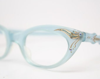 Rhinestone Cat Eye Glasses Vintage Cateye Frames 1950s Eyeglasses