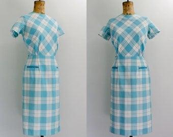 1960s wiggle dress / 60s plaid dress / cotton dress / turquoise dress medium