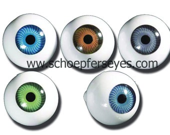 Round Doll Eyes Great Colors in High Quality Acrylic  - 3 Pair any size and color