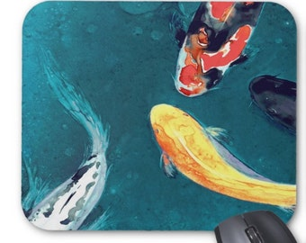 Mousepad - Koi Watercolor Painting - Art for Home or Office