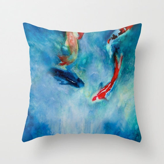 Decorative pillow cover koi fish pond by brazendesignstudio for Koi fish pillow