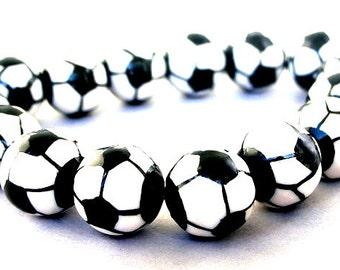 5 soccer ball 15mm beads, porcelain soccer beads, black and white