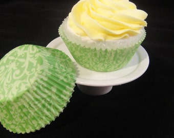 Green Damask Cupcake Liners