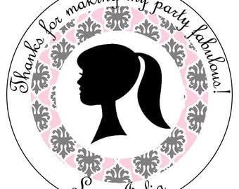 girl silhouette stickers, custom birthday stickers, vintage party stickers, pink damask labels