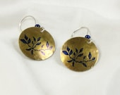 Domed Brass Circle Earrings with Leaves