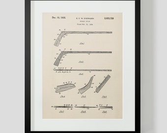 Vintage Hockey Stick Patent Print