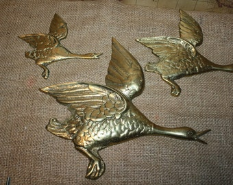 Brass Wall Hanging Geese - set of 3