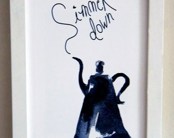 SImmer Down -Black and white watercolor print