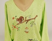 Hand Painted 100% Cotton Sweater - Art-to-wear-  'Squirrel's World'-design on Spring Green Sweater