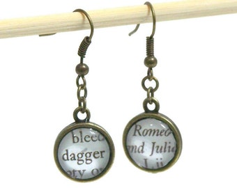 Romeo and Juliet Earrings Literary Jewelry: Shakespeare Play