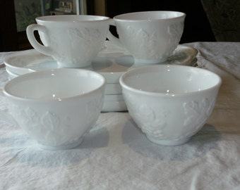 Vintage Milk Glass Snack sets