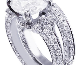 18k white gold round cut diamond engagement ring and band deco 2.40ctw h-vs2 egl
