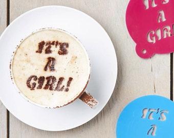 Baby Gender Announcement Coffee Stencil