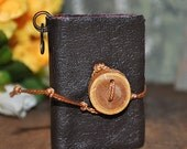 If he only knew, tiny leather journal book for a necklace with wooden button, handmade, miniature, jewelry art, accessory, JunqueTreasures