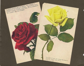 Pair of Rose Vintage Postcards Unused Yellow Rose and Red Rose with poems