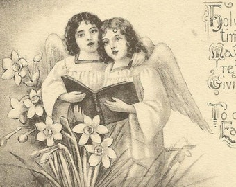 Angel Voices Raised in Song on Peaceful Gravure Vintage Postcard Columbine Colorado cancel 1917
