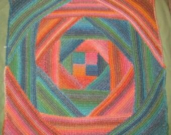 Rainbow Squared Spiral Afghan