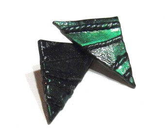 Emerald Green Color Block Triangle Earrings - Black, Silver, Color-blocking, Geometric, Unique, Ready to Ship, Sale - Now Marked 40% OFF
