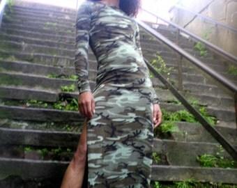 Camo Double Side Slit Maxi Dress ALSO Plus Size