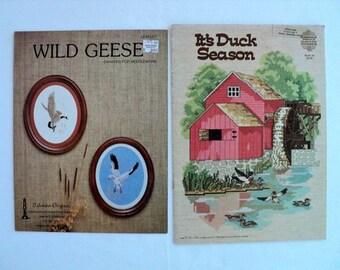 Vintage - Wild Geese and It's Duck Season Counted Cross Stitch Leaflet and Book - Set of 2