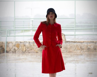 Vintage Red Two Piece Fitted Dress Suit