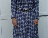 1980s Liz Claiborne Western Cowgirl Dress Blue Plaid Linen and Rayon One Heck of a Dress
