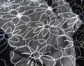 Black Cotton Blend Fabric with White Embroidered Flowers